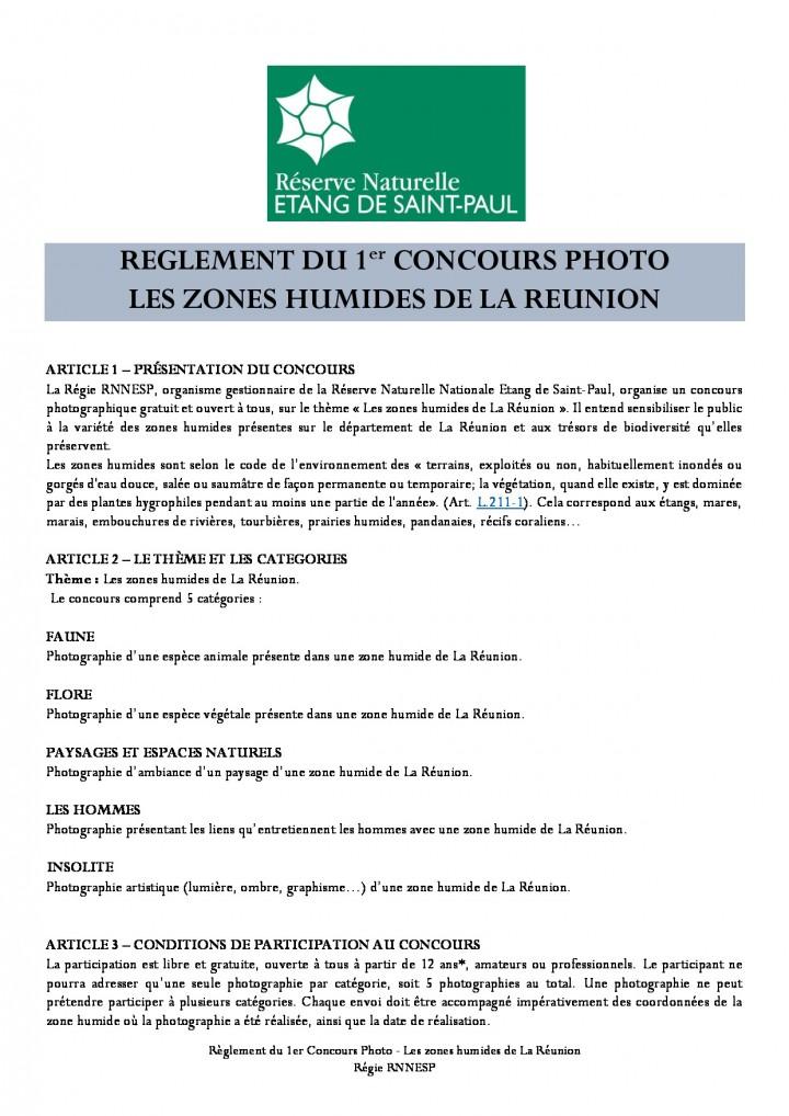 """Règlement du 1er concours photo """"Les zones humides de La Réunion"""""""