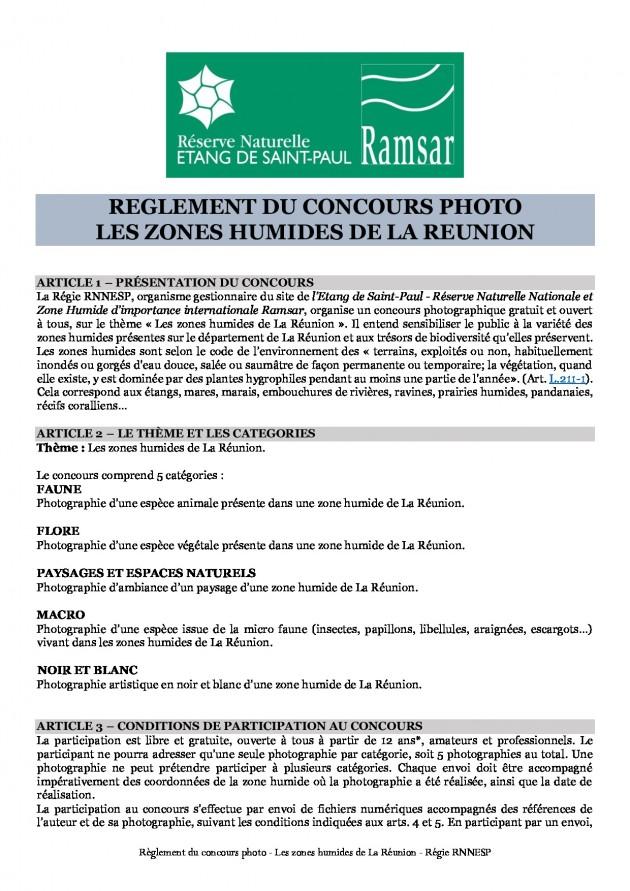"""Réglement 2ème concours photo """"Les zones humides de La Réunion"""